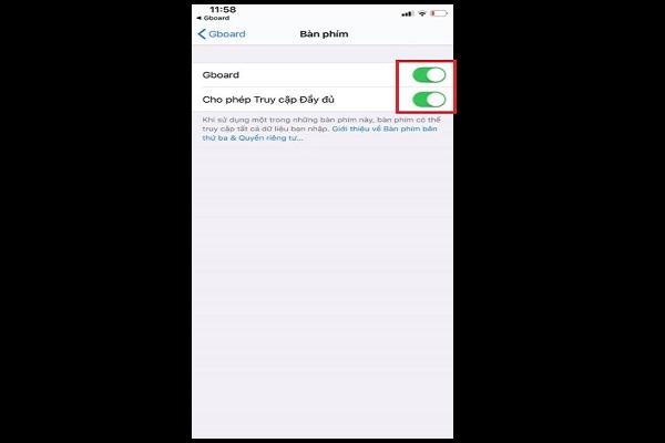 Kích hoạt ứng dụng Gboard