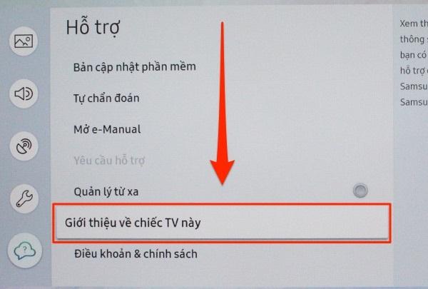 Chọn mục Giới thiệu về chiếc tivi này trong phần hỗ trợ.