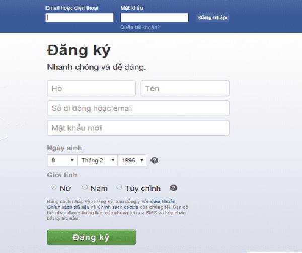 Đăng nhập vào TK FB cá nhân
