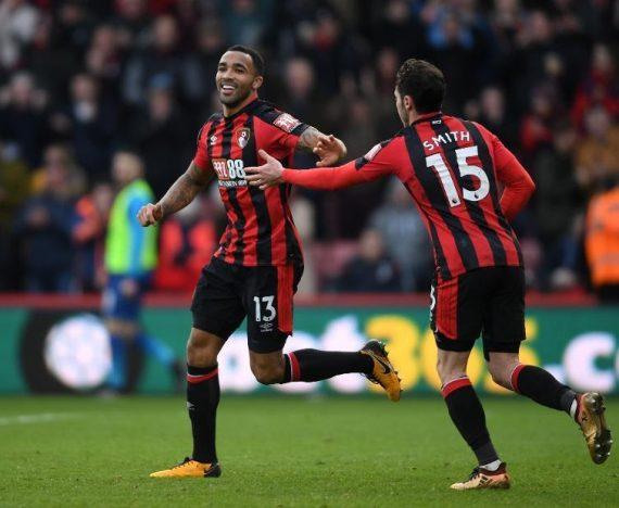 Callum Wilson ăn mừng với đồng đội ở câu lạc bộ Bournemouth